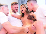 Gina whimpers as the guys slam fuck her holes so hard
