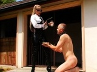 Wicked domme dominates guy