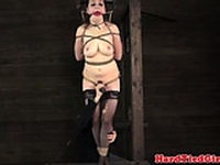 Restrained and suspended sub dildofucked