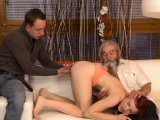 Strong blowjob xxx Vanessa, her bf and his father desired