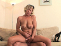 Hot blonde mother-in-law rides boys cheating cock