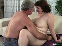 Flabby bbw chick mounts oldies cock