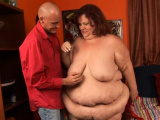Fat doxy gets her clean bald pussy nailed on camera
