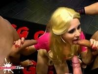 Skinny Blonde Ashlee Cox swallows sperm German Goo Girls