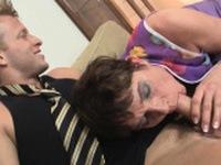 Old granny in stockings rides his horny big cock