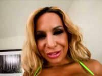 Busty Alyssa Lynn sucks cum out of dick in POV porn