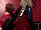 Lesbian chick groans hard with large vibrator on her slit