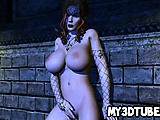 Busty 3D redhead babe fingers and toys herself
