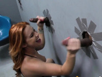 Redhead sucks black cock