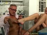 Sexy ass babe footfucks