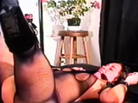 Older doxy gets titillated while being thonged tight