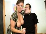 Milf teacher gives a naughty handjob