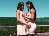 Pretty lesbians lick each other