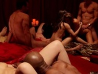 Swingers group sex orgy goes interracial