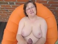 Fat And Busty Granny Stroking Cock POV