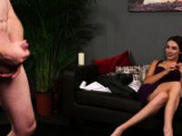Gorgeous voyeur beauty humiliates wanking guy