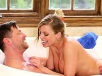 Massage loving babe fucked in a bath tub