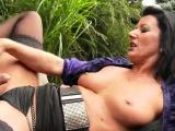 Surprised centerfold in undies is geeting peed on and penetr