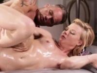 Blonde masseuse Nicole fucks her neigbor