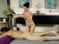 Busty masseuse babe sucks