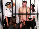 Dirty cfnm copper chicks give group handjob