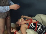fine violently banged bdsm babe with ropes