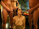 Hot gal acquires wet pissing from males during filming