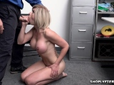 Blonde milf Amber gets caught stealing