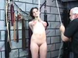 Beauty enjoys private moments of non-professional bondage