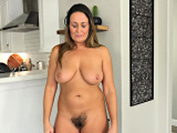 Busty mature with hairy pussy solo