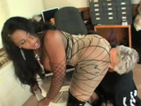 Sensational woman gangbanged from behind