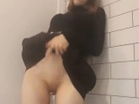 Sweet girl touching herself alone at home
