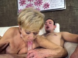 Heeled grandma sucks dick
