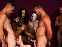 Frisky idol gets sperm load on her face swallowing all the c