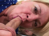 Big tits blonde granny gives head and rides cock