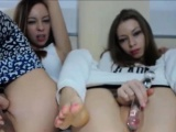 Two horny lesbians masturbate with sextoy