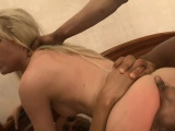 Slender blond bitch dped by nasty black guys on the bed