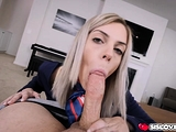 Allie Nicole services her stepbros meat with a blowjob