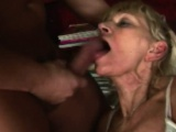 Blonde granny blowjob big dick rough shaved cunt