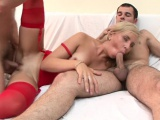 Blonde whore treated to a nasty threesome