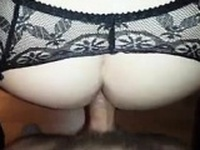 Wild redhead in black lingerie squirts while getting fucked