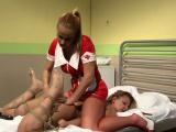 Dominating lesbian nurse seducing tiedup sub