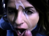 Secretary blowing her boss at the parking lot - great facial