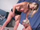 Older chap gets dominated by a couple of breasty honeys