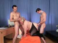 Huge hairy granma takes double penetration