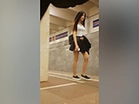 Sexy streetwalkers are stalked by a peeping tom with a spyc