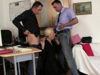 Granny agrees threesome sex for job