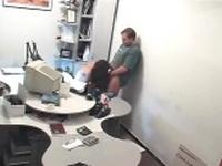 Russian amateurs fuck on office desk spycam