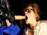Smokin lesbian babe sucks large fake pecker and rubs pussy