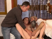 Masked blonde threesome Unexpected practice with an older